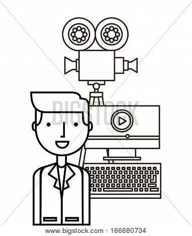 man with computer and video recorder over white background. vector illustration