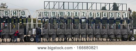 PYATIGORSK,RUSSIA - SEPTEMBER 22, 2013 : Start gates for horse races the traditional prize Derby in Pyatigorsk,the largest in Russia on September 22,2013.