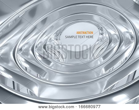 3d illustration of metal crome abstract bionic futuristic structure on gray background