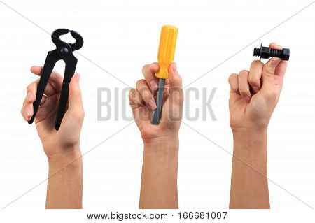 Engineer Tool Toy Concept. Boy Hand Holding Carpenter Pincer, Screwdriver And Screw Bolt Toy Tool Is