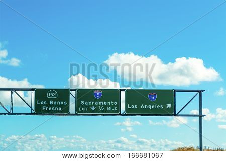Sacramento and Los Angeles signs in 5 freeway southbound California