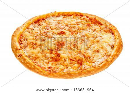 Delicious classic Hawaiian Pizza with chicken pineapple oregano and cheese isolated on white background