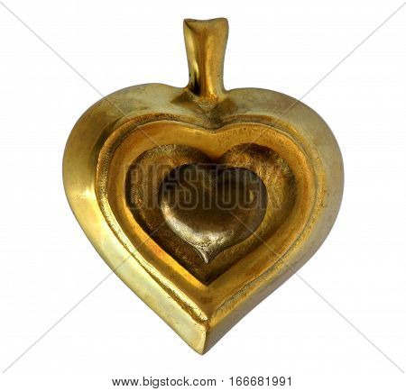 Antique bronze casket or jewelry box Spades and bronze figurine Heart isolated on white background