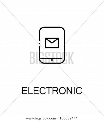 Electronic cloud icon. Single high quality outline symbol for web design or mobile app. Thin line sign for design logo. Black outline pictogram on white background