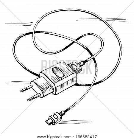 Vector sketch charger usb device cable. Stock illustration on a white background.