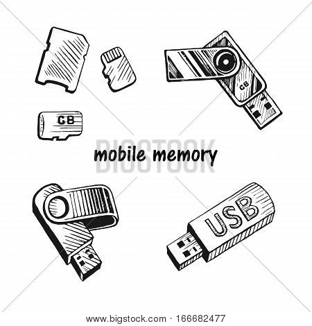 USB stick and memory card set hand drawn sketch vector illustration.