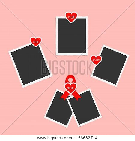Realistic paper photos with shadow. Stickers with popular love words pasted on retro photo frames. Blank vintage photos attached stickers in form of heart on Valentines Day mothers day