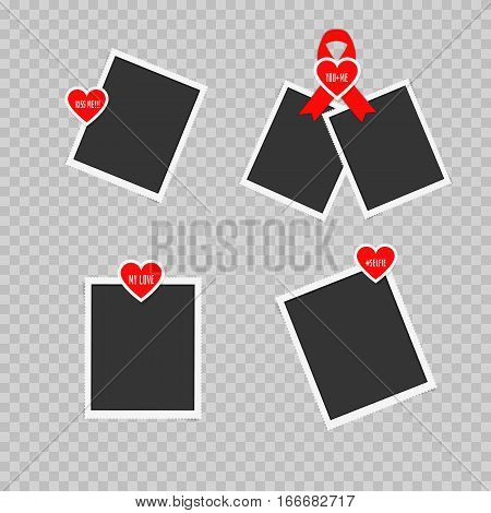 Realistic paper photos on transparent background. Stickers with popular love words pasted on retro photo frames. Blank vintage photos attached stickers in form of heart on Valentines Day mothers day