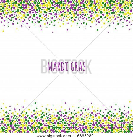 Mardi gras dotted pattern with space for text. Colorful dots of various size on the white background. Vector abstract background EPS10.