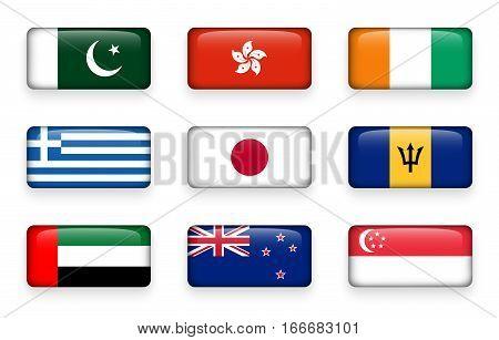 Set of world flags rectangle buttons ( Pakistan . Hong kong . Ivory Coast . Greece . Japan . Barbados . UAE . New zealand . Singapore )