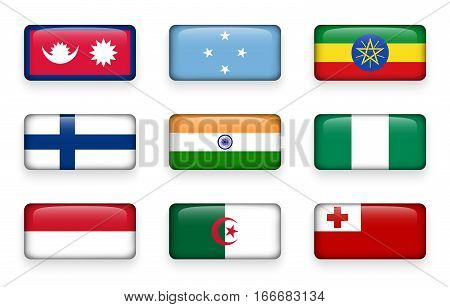Set of world flags rectangle buttons ( Nepal . Micronesia . Ethiopia . Finland . India . Nigeria . Monaco . Algeria . Tonga )