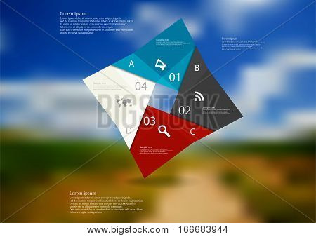 Illustration infographic template with motif of color rectangle square origami consists of four parts with sample text and simple sign. Blurred photo with natural motif is used as background.