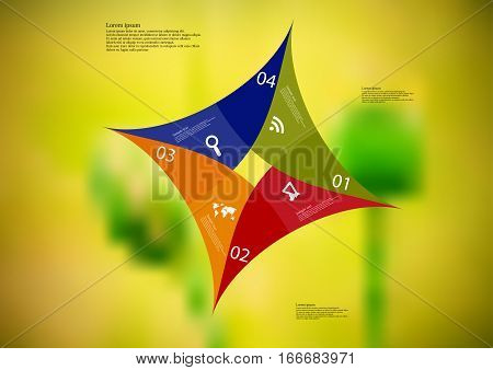 Illustration infographic template with motif of color star square origami consists of four parts with sample text and simple sign. Blurred photo with natural motif is used as background.