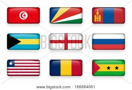 Set of world flags rectangle buttons ( Tunisia . Seychelles . Mongolia . Bahamas . England . Russia . Liberia . Chad . Sao Tome and Principe )