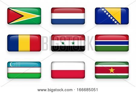 Set of world flags rectangle buttons ( Guyana . Netherlands . Bosnia and Herzegovina . Romania . Syria . Gambia . Uzbekistan . Poland . Suriname )