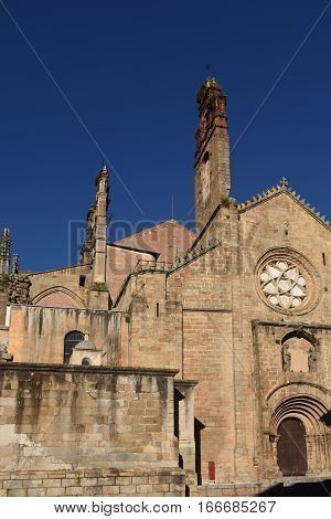 Romanesque façade of the Old Cathedral (aka St Mary's church) Plasencia. Caceres province Extremadura Spain