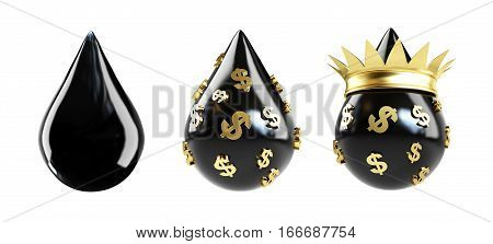 drop of oil oil drop with a golden crown. 3D illustration on a white background