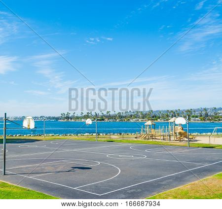 Basketball courts in Mission Bay San Diego