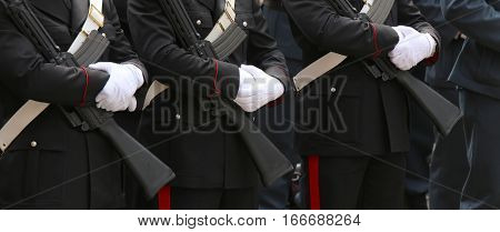 Three Italian Police In Full Uniform