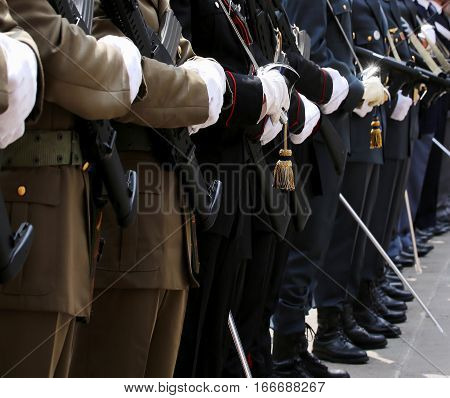 Italian Armed Forces With Alpine Troops And The Police
