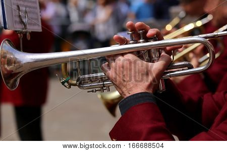 Trumpet Player Plays During An Outdoor Live Concert