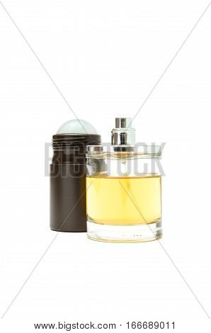 bottle of perfume and a roll-on deodorant on a white background