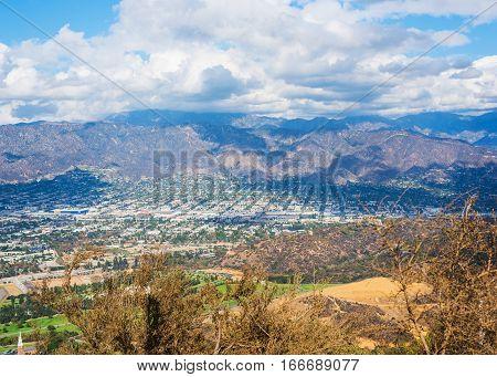 white clouds over Burbank in California, USA