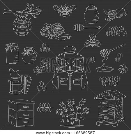 Vector honey collection with beekeeping elements bee, beehive, beekeeper, honeycomb, smoker, jar and dipper stick isolated on black background. Hand drawn, doodle style illustration.