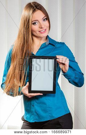 Technology help in career business and work advice first job. Young woman hold tablet portable computer show advice and help.