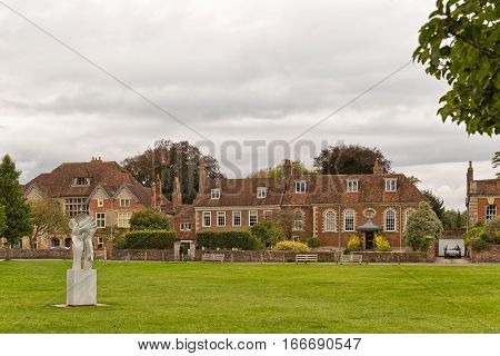SALISBURY ENGLAND - October 2016: Salisbury Cathedral Front view and park on sunny day South England