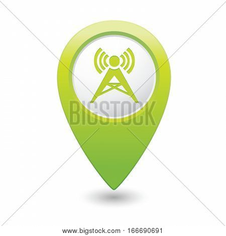 Map pointer with wireless icon. Vector illustration