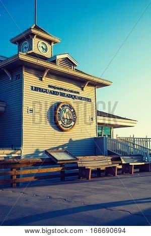 Newport Beach California - November 02 2016: Lifeguard Headquarters at sunset