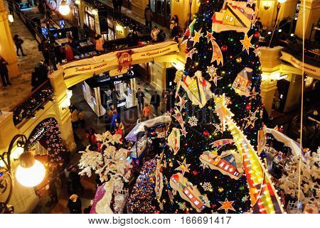 MOSCOW, RUSSIA - DECEMBER 30, 2016: New Year and Christmas Interior Decoration of GUM (State Department Store) passage in Red Square on December 30, 2016 in Moscow, Russia