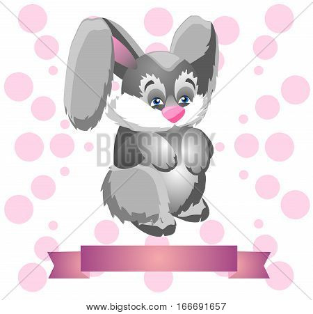 Cute gray rabbit on a modest pale pink background with a pink satin ribbon for an inscription at the bottom. Funny illustration to cheer up dear people.