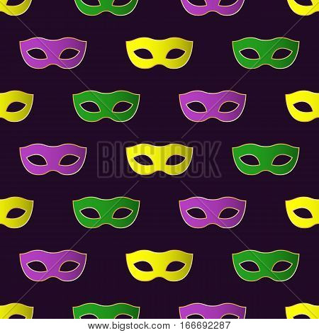 Mardi Gras Carnival seamless pattern with colorful masks. Mardi Gras endless background texture wrapper. Vector illustration.
