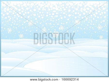 Clean Winter Day Landscape. Snowdrift Field with Frozen Lake. Abstract Xmas Backdrop for Your Text and Design.