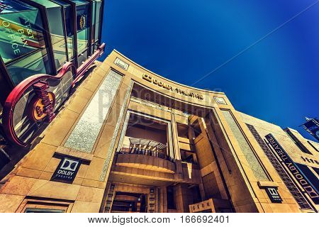 Los Angeles California - November 02 2016: Dolby theatre and Hard Rock Cafe in Hollywood boulevard