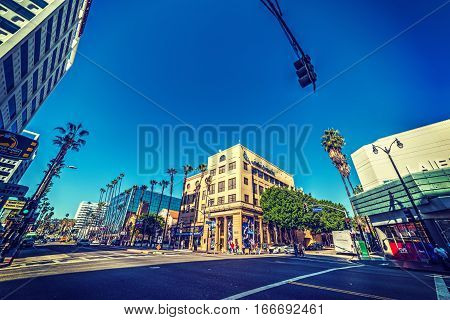LOS ANGELES CALIFORNIA - NOVEMBER 2 2016: Hollywood boulevard in Los Angeles California