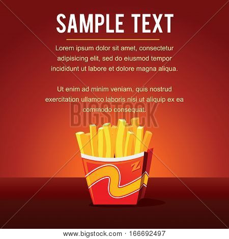 French Fries Template. Fried Potato Slices Vector Image