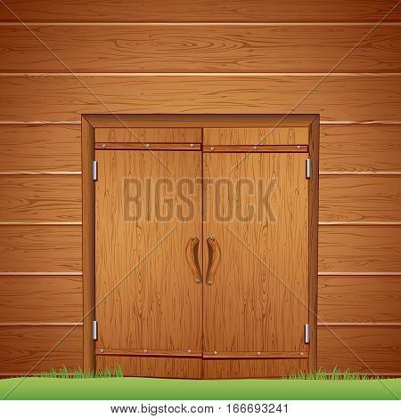 Wooden Barn Door. Vector Image for design