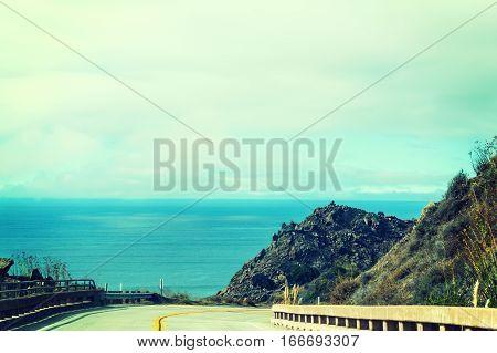 Pacific Coast Highway in vintage tone California