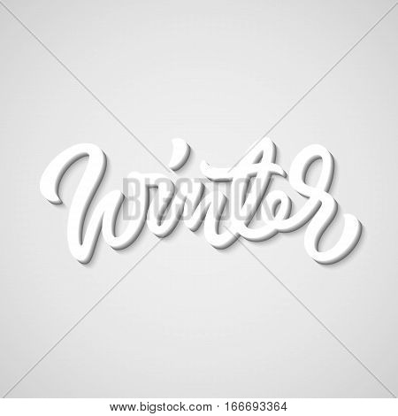 White winter handmade lettering, graffiti style italic calligraphy with 3d block blended shade and shadow for logo, design concepts, banners, labels, prints, posters, stickers. Vector illustration.