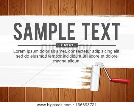 Paint Roller Painting White on Wood Wall from Planks. Vector Banner