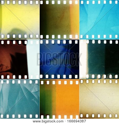 Set of various colorful grained perforated film textures with dust and light leaks