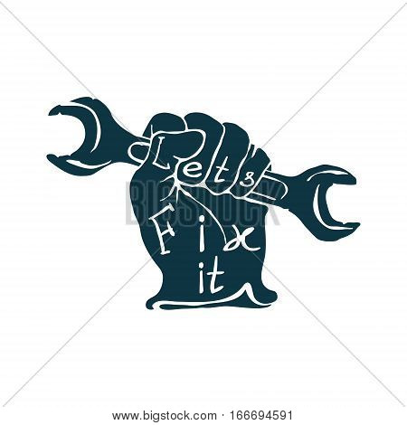 Hand drawn sketch vintage Hand with Wrench vector illustration