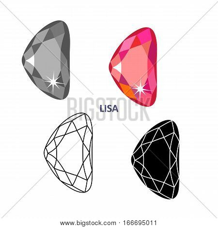 Low poly colored & black outline template fancy gem cut icons isolated on white background vector illustration