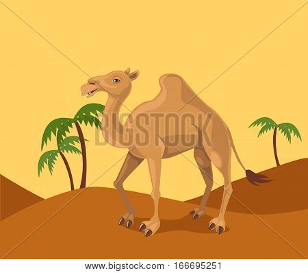 Illustration of the funny camel in oasis.