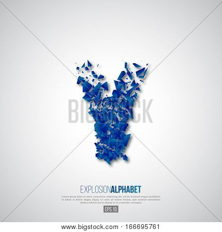 Letter Y of explosion particles effect. Typographic abstract element for design. Vector illustration.