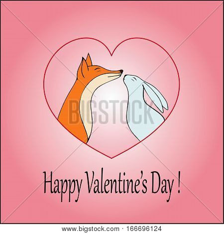 Love-Happy Valentines day card with cute fox and rabbit-stock vector.