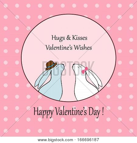 Vector hearts. Love-Happy Valentines day card with cute rabbit-stock vector.